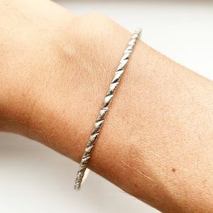 Vintage silver segmented stacking bangle bracelet